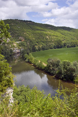 The rural Lot Valley and river near Cajarc, Lot, France