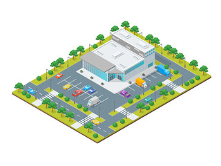 Supermarket or Shop Building Concept 3d Isometric View. Vector