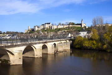 Chinon town and chateau seen beyond the bridge over the Vienne Rive, Indre-et-Loire, France