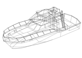 Yacht 3D blueprint - isolated
