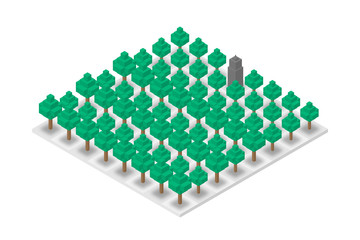 Abstract Forest and Building chess 3D isometric virtual, World Environment Day concept design illustration isolated on white background