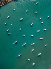 Aerial view of yachts in Miami Beach, Florida, USA