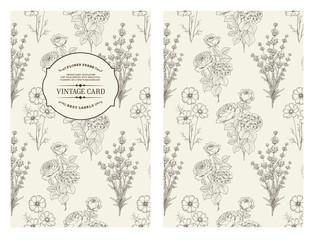 Book cover design. Wild flowers card. Vintage pattern of black lines over gray design. Vector illustration.