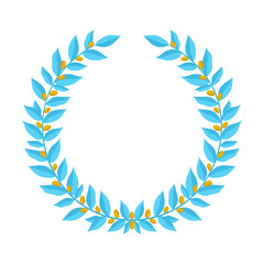 Blue laurel wreath with golden berries. Vintage wreaths heraldic design elements with floral frames made up of laurel branches with gold berries on white background. Symbol of winner or valor and mind