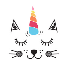 Cute cat unicorn illustration, textile graphic t shirt print vector illustration