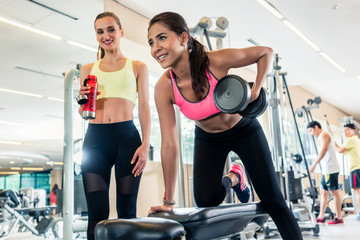 Low-angle view portrait of a determined and powerful young woman smiling and holding a dumbbell, while rowing with one arm in a trendy health club