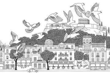 Birds over Athens - hand drawn black and white illustration of the city with a flock of doves