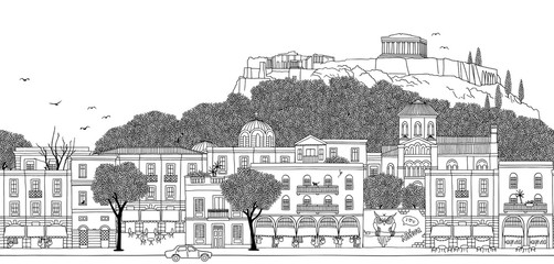 Athens, Greece - Seamless banner of the city's skyline, hand drawn black and white illustration