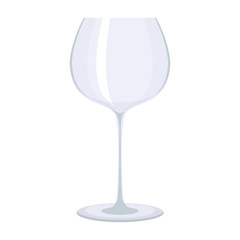 Empty transparent glass for wine. Flat vector cartoon illustration. Objects isolated on a white background.