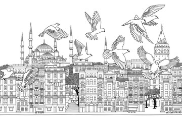 Birds over Istanbul - hand drawn black and white illustration of the city with a flock of doves