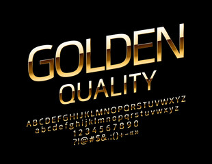 Vector Elite Golden Quality Font. Chic glossy Alphabet Letters, Numbers and Symbols