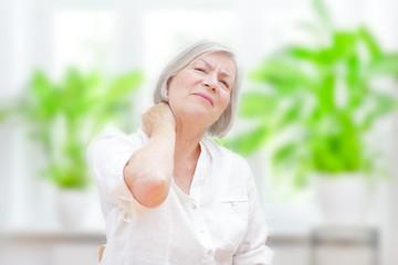 senior woman acute neck pain