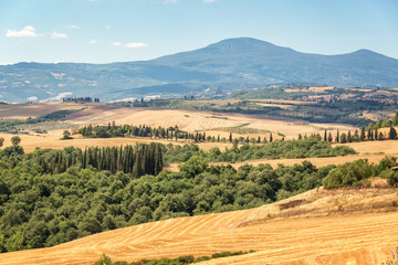 Tuscany landscape in summer, after harvest, Italy