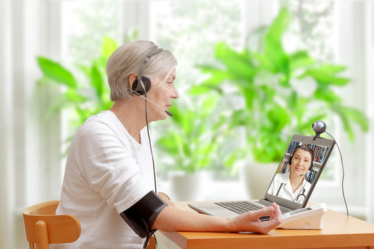 woman doctor video call blood pressure