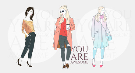 Beautiful hipster young woman with trend hairstyle in a fashion jacket, pants in glasses with coffee. Vector illustration.