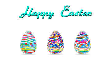 easter egg three pattern paint color on white background Vector Illustration with copy space add text