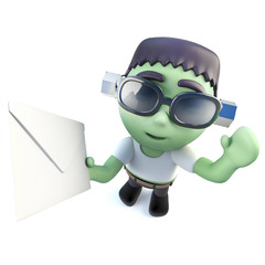 3d Funny cartoon frankenstein monster character holding an envelope