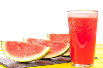 Refreshing summer fruit drink. Pureed watermelon crush smoothie.