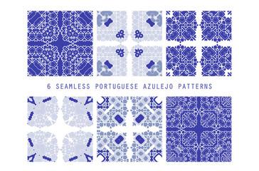 Vector tile pattern, Lisbon floral mosaic