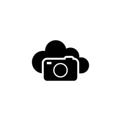 Cloud Photo Storage. Flat Vector Icon. Simple black symbol on white background