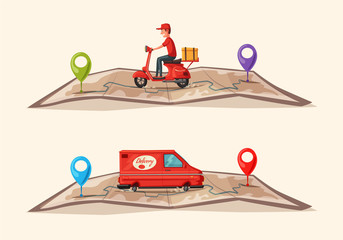 Fast and free delivery. Vector cartoon illustration. Food service. Scooter and van.
