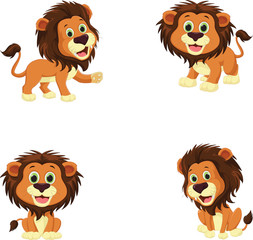 collection of cute lion cartoon