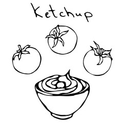 Small White Bowl of Red Tomato Ketchup and Cherry Tomatoes. Sauce For Italian Cuisine, Pizza, Fast Food, Beer Snacks French Fries or Chips. Realistic Hand Drawn Illustration. Savoyar Doodle Style.