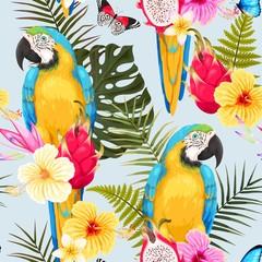 Fotorolgordijn Papegaai Seamless macaw and flowers
