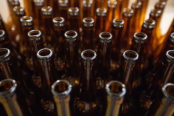 Empty glass beer bottles, the top view