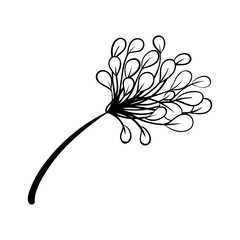 Vector outline illustration of flower. Black and white drawing of a plant. Isolated object of floral theme