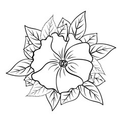 Vector outline illustration of flower bouquet. Black and white drawing of plants. Isolated objects of floral theme