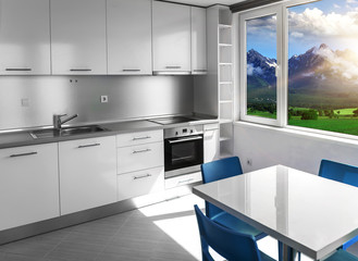 Kitchen with white furniture and windows with mountain scenery.