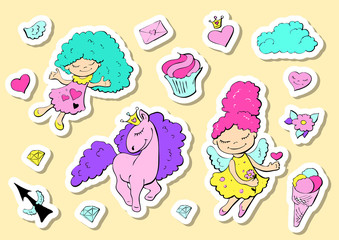 Set of cute stickers with hearts, love, flower and other elements for princess girl. Fashion patch in cartoon style.