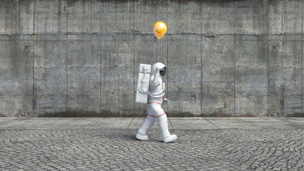 Astronaut walking in the city with a helium balloon. Bizarre scene from the city.