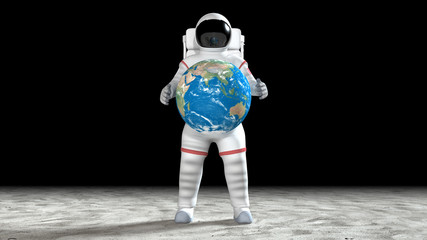 Astronaut holding the orbiting earth with his hands on the moon or alien planet surface.