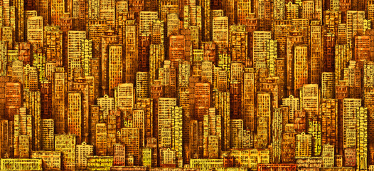 Hand drawn background with big city. Illustration with architecture, skyscrapers, megapolis, buildings, downtown.
