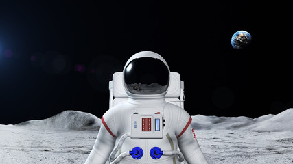 Astronaut On The Moon Surface. Earth is visible in the background.