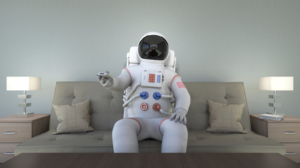 An astronaut watching tv and changing channels. Bizarre scene.