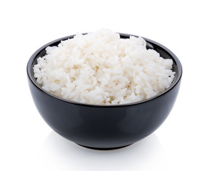 Rice cooker in a black bowl on white background