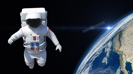 Astronaut is flying over the planet Earth. Astronaut pushing the boundaries of exploration.
