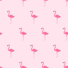 Wall Mural - Flamingo seamless pattern vector illustration. Cute Flamingo on pink background