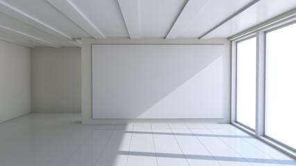 Blank white billboard in empty room