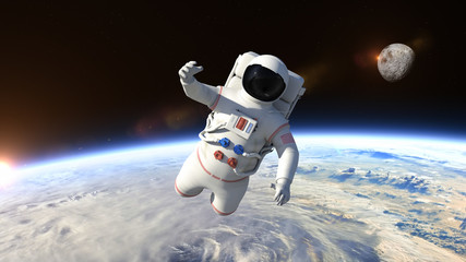 Astronaut is flying over the planet Earth and slowly closing. Astronaut pushing the boundaries of exploration.
