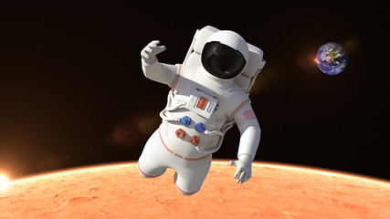 Astronaut is flying over the planet Mars and slowly closing. Astronaut pushing the boundaries of exploration.