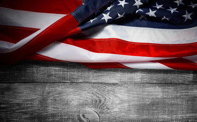 American flag with place for text