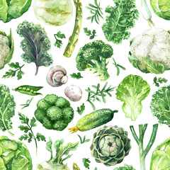 Green Vegetables Seamless Pattern