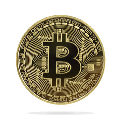 Digital currency. Cryptocurrency. Golden coin with bitcoin symbol isolated on white background.