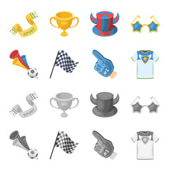 Pipe, uniform and other attributes of the fans.Fans set collection icons in cartoon,monochrome style vector symbol stock illustration web.