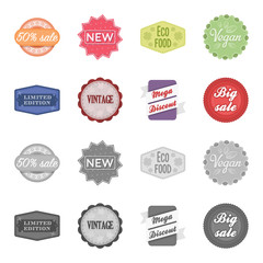 Limited edition, vintage, mega discont, dig sale.Label,set collection icons in cartoon,monochrome style vector symbol stock illustration web.