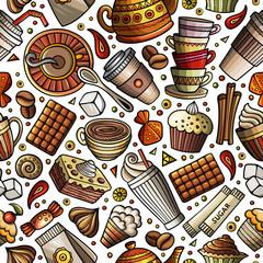 Cartoon coffee shop seamless pattern